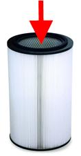 Foto einer Filterpatrone mit Wirkrichtung der Reinigungsdüse.
